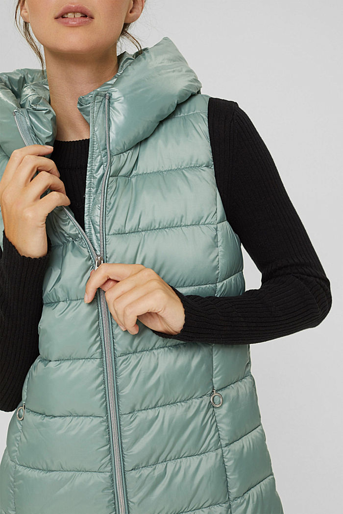 Recycled: long quilted body warmer 3M™ Thinsulate™, DUSTY GREEN, detail image number 2