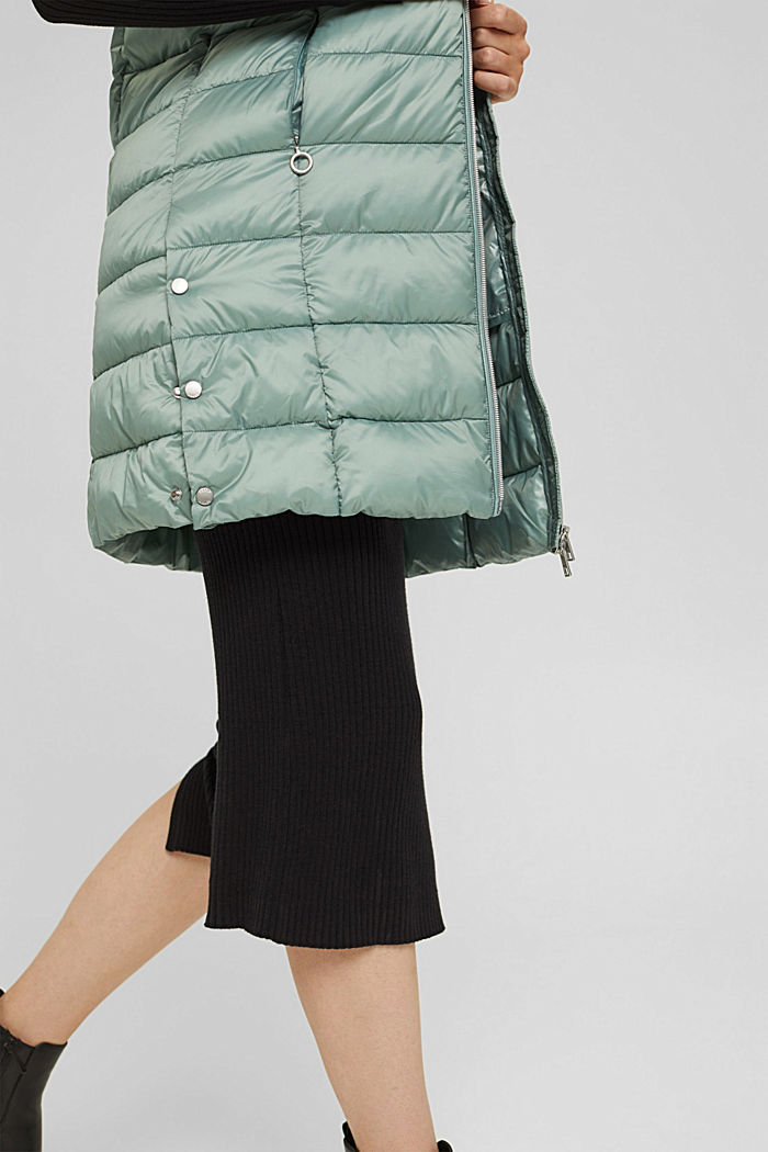 Recycled: long quilted body warmer 3M™ Thinsulate™, DUSTY GREEN, detail image number 5