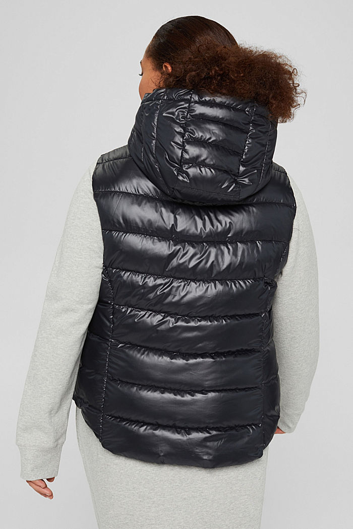 CURVY recycled: Quilted body warmer with a hood, BLACK, detail image number 3