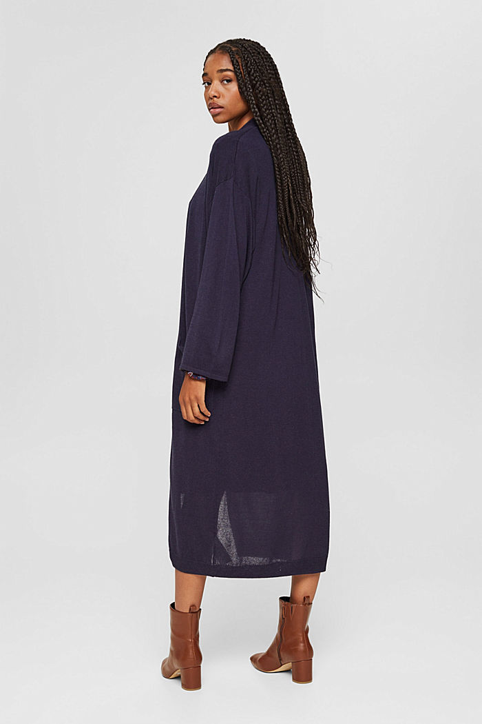 Long cardigan with linen, NAVY, detail image number 3