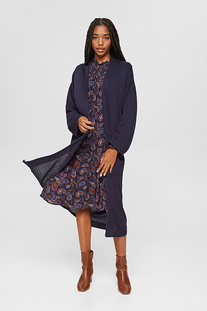 Long cardigan with linen, NAVY, detail image number 1