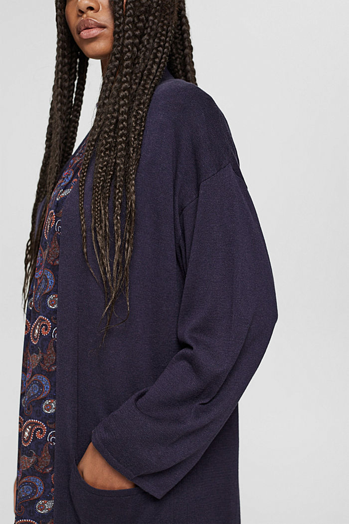 Long cardigan with linen, NAVY, detail image number 2