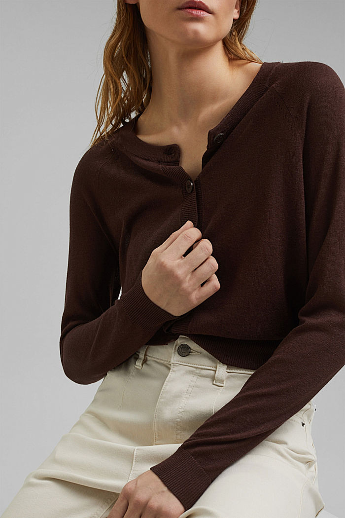 Cropped basic cardigan made with linen