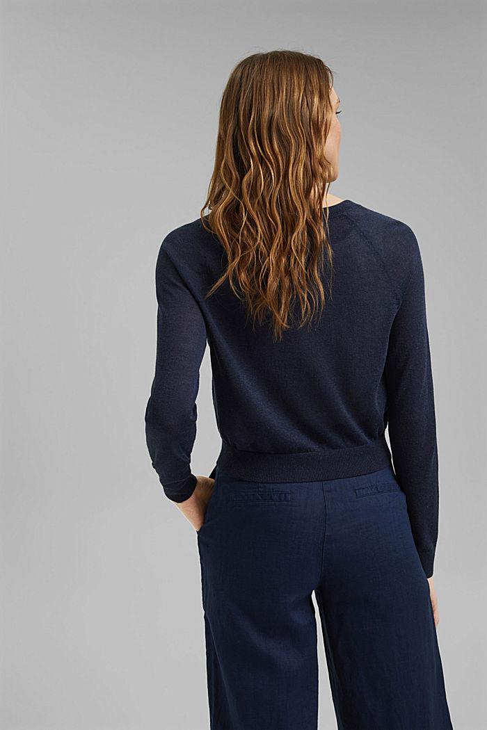 Met linnen: basic, cropped vest, NAVY, detail image number 3