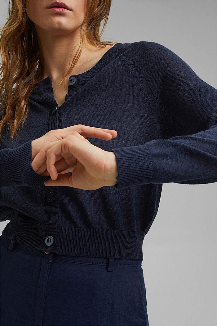 Met linnen: basic, cropped vest, NAVY, detail image number 2