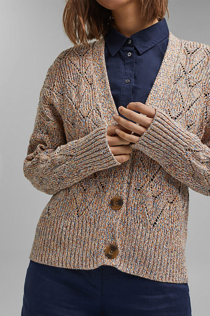 Cárdigan multicolor en 100% algodón ecológico, BLUSH, detail image number 2