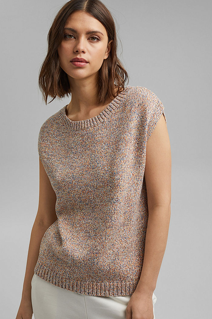 Multicoloured sleeveless jumper in 100% organic cotton, BLUSH, detail image number 0