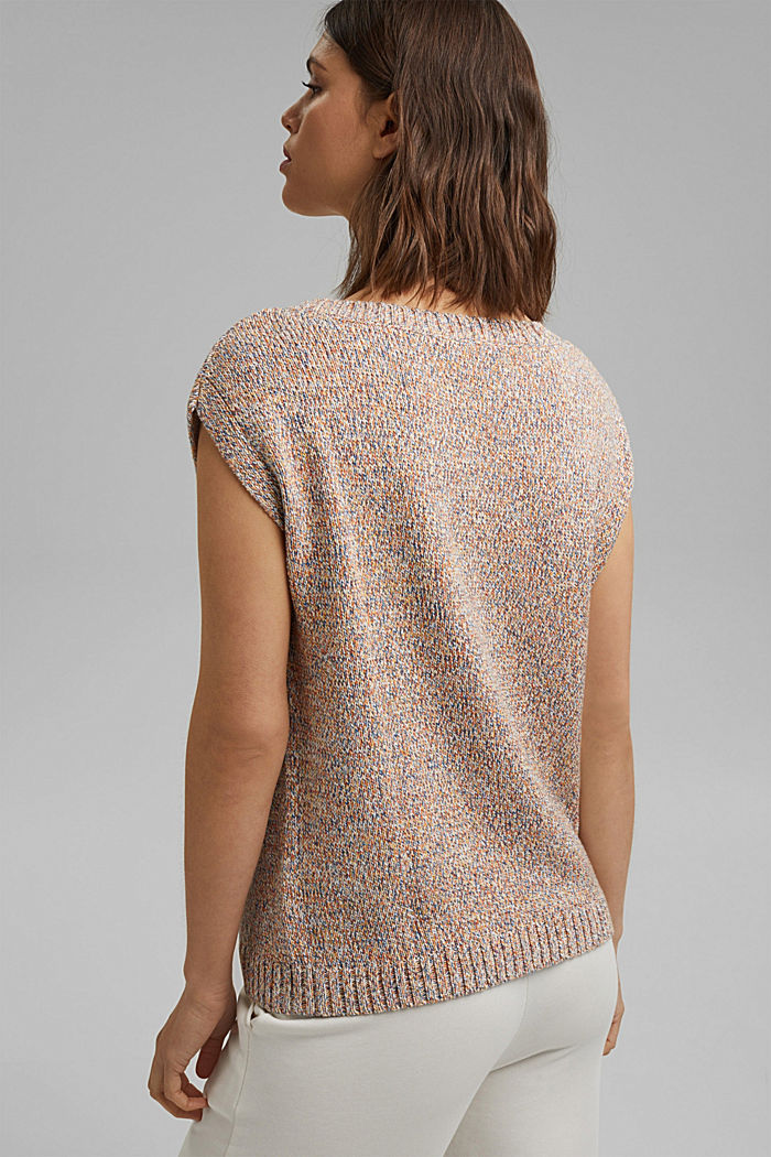 Multicoloured sleeveless jumper in 100% organic cotton, BLUSH, detail image number 3