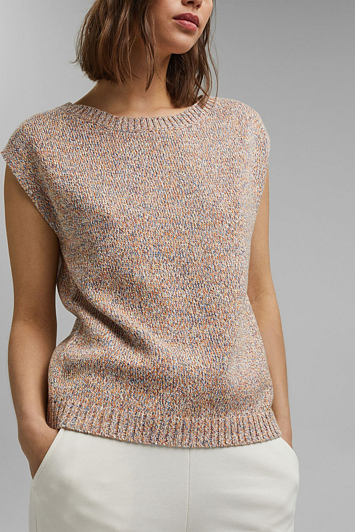 Multicoloured sleeveless jumper in 100% organic cotton, BLUSH, detail image number 2