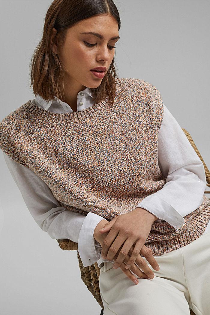 Multicoloured sleeveless jumper in 100% organic cotton
