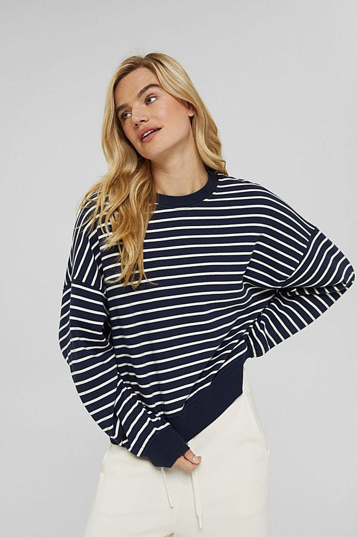 Striped sweatshirt made of 100% organic cotton, NAVY, detail image number 0