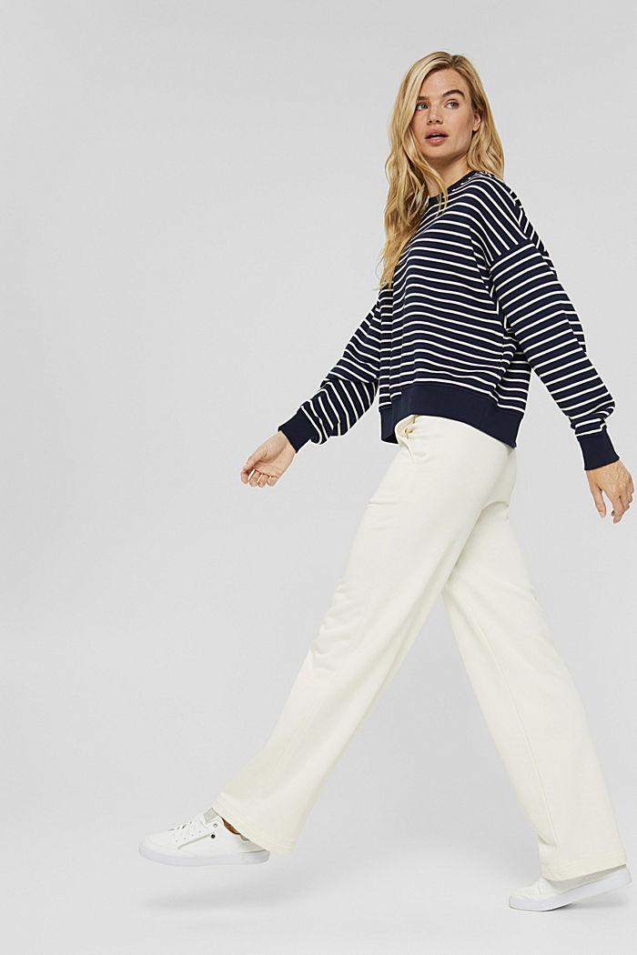 Striped sweatshirt made of 100% organic cotton, NAVY, detail image number 1