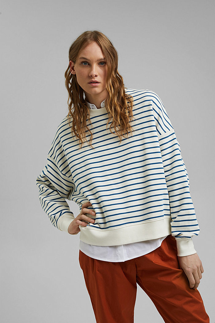 Striped sweatshirt made of 100% organic cotton, BRIGHT BLUE, detail image number 0