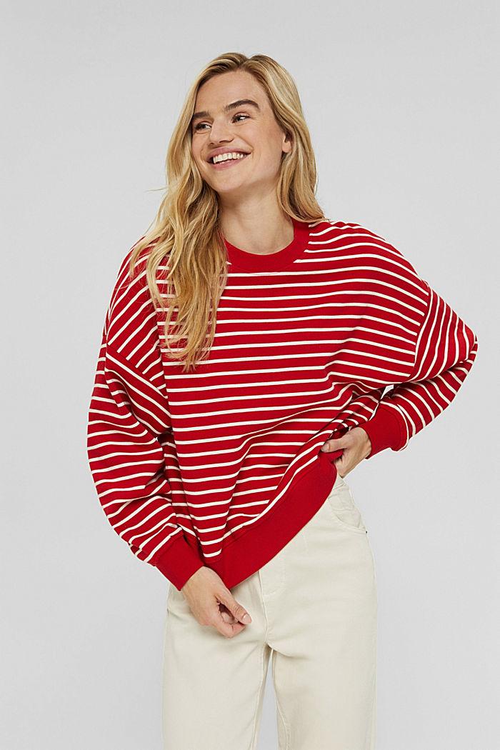 Gestreiftes Sweatshirt aus 100% Bio-Baumwolle, RED, detail image number 0