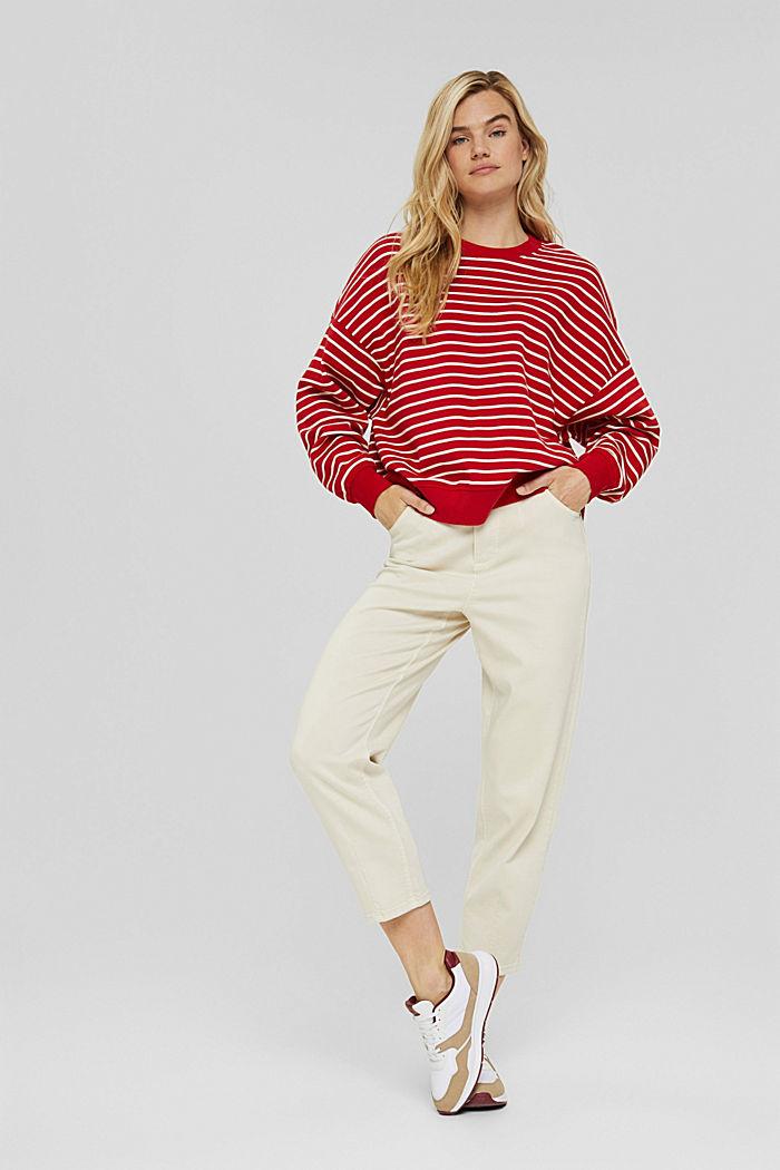 Gestreiftes Sweatshirt aus 100% Bio-Baumwolle, RED, detail image number 1