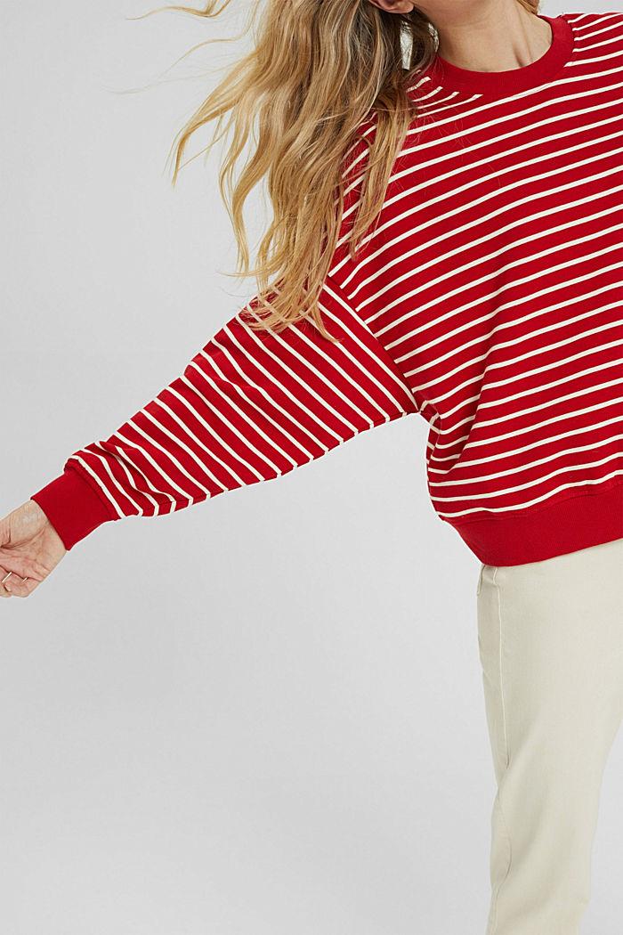 Gestreiftes Sweatshirt aus 100% Bio-Baumwolle, RED, detail image number 2
