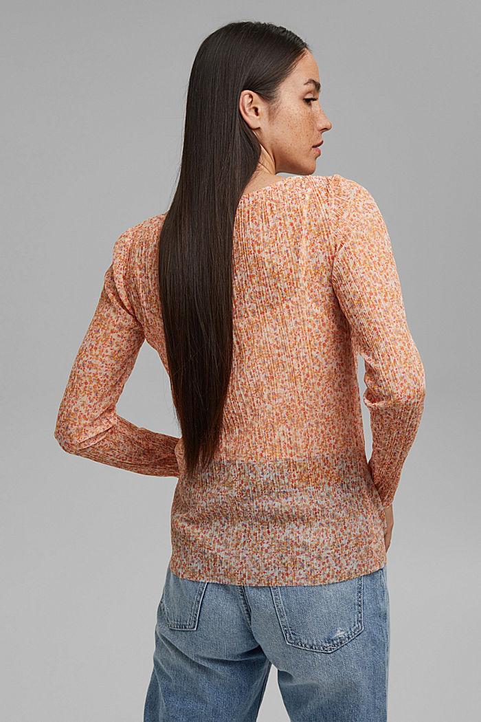 Tričko s dlouhým rukávem, ze síťoviny, s plisováním a potiskem, OFF WHITE, detail image number 3