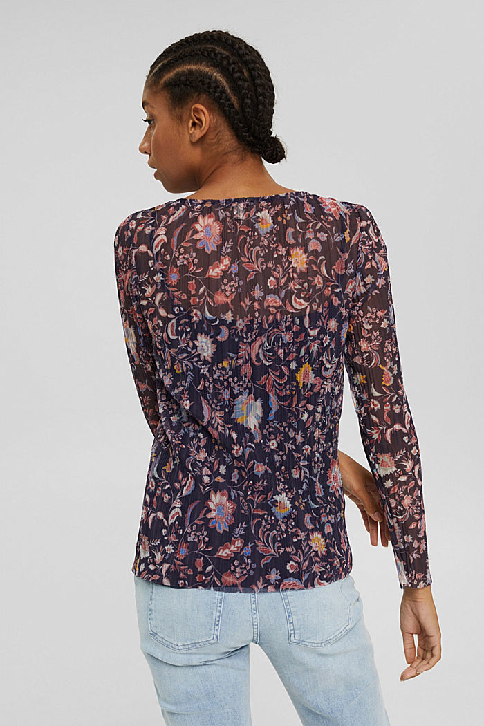 Mesh long sleeve top with pleats and a print, NAVY, detail image number 3