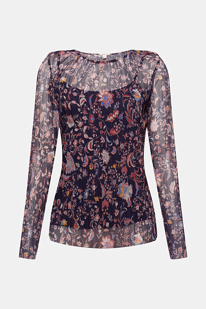 Mesh long sleeve top with pleats and a print