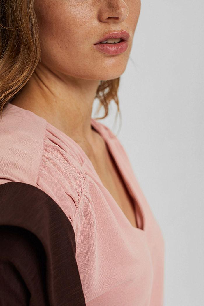 Gathered shoulder top, OLD PINK, detail image number 2