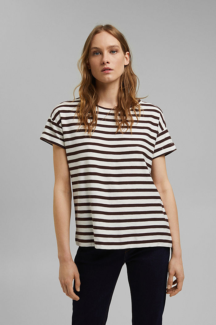 Striped T-shirt made of 100% organic cotton, RUST BROWN, detail image number 0