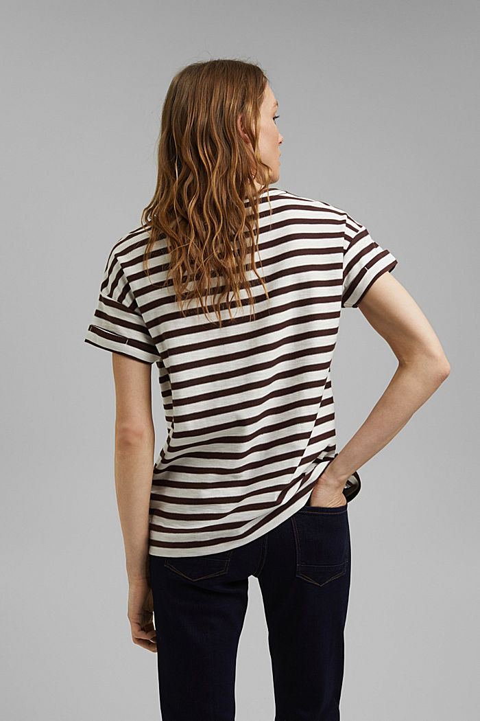 Striped T-shirt made of 100% organic cotton, RUST BROWN, detail image number 3
