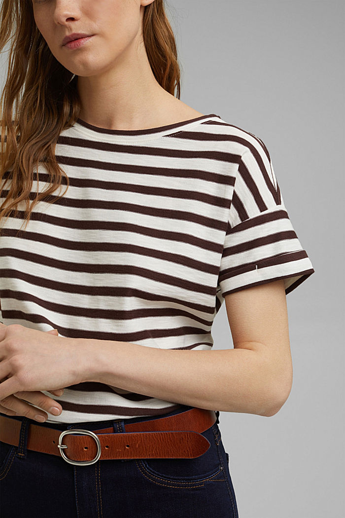 Striped T-shirt made of 100% organic cotton, RUST BROWN, detail image number 2
