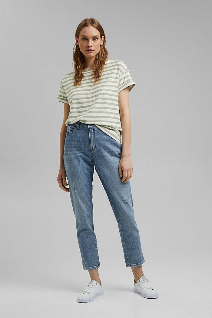 Striped T-shirt made of 100% organic cotton, PASTEL GREEN, detail image number 1