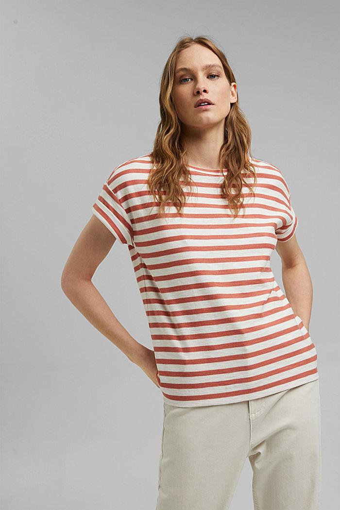 Pruhované tričko ze 100% bio bavlny, BLUSH, detail image number 0