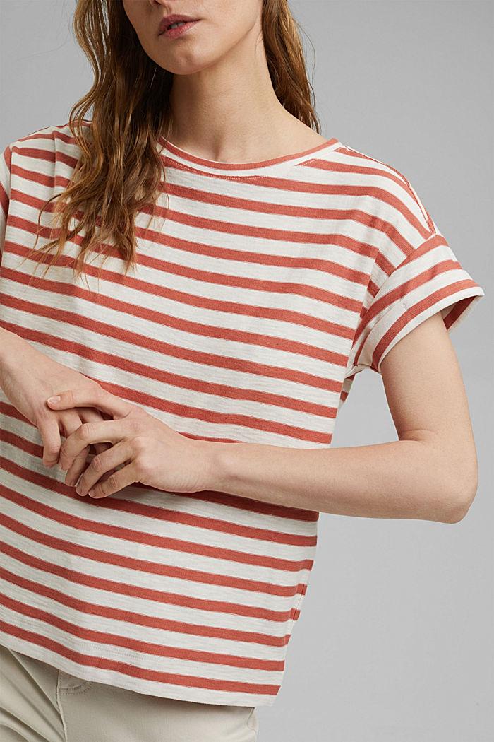 Pruhované tričko ze 100% bio bavlny, BLUSH, detail image number 2