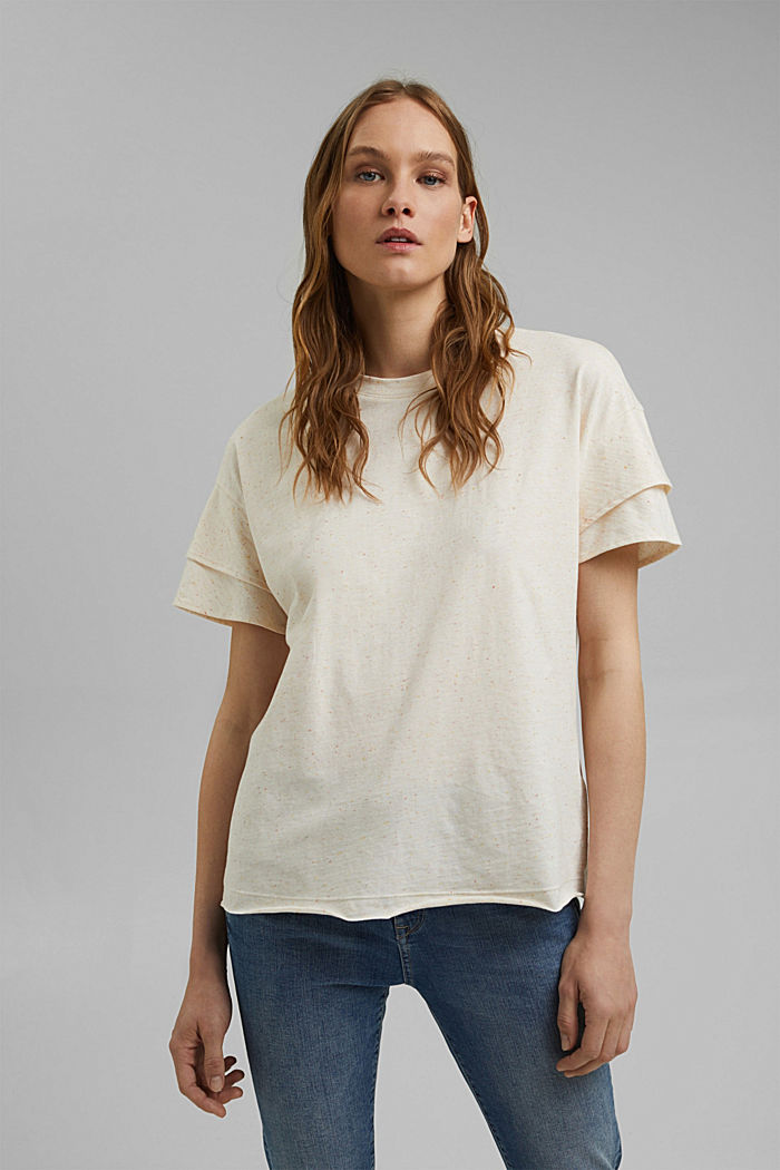 T-shirt à manches à effet superposé en coton biologique, OFF WHITE, detail image number 0