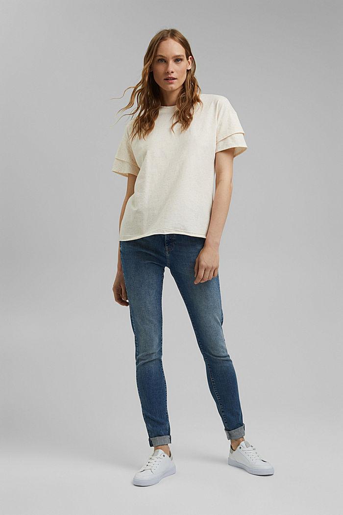 T-shirt à manches à effet superposé en coton biologique, OFF WHITE, detail image number 1