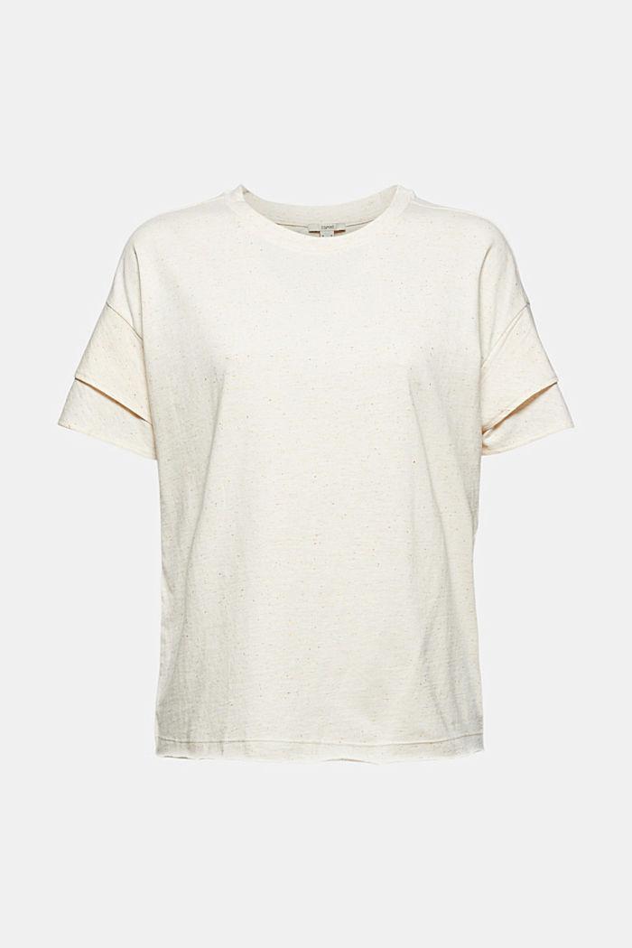 T-shirt à manches à effet superposé en coton biologique, OFF WHITE, detail image number 6