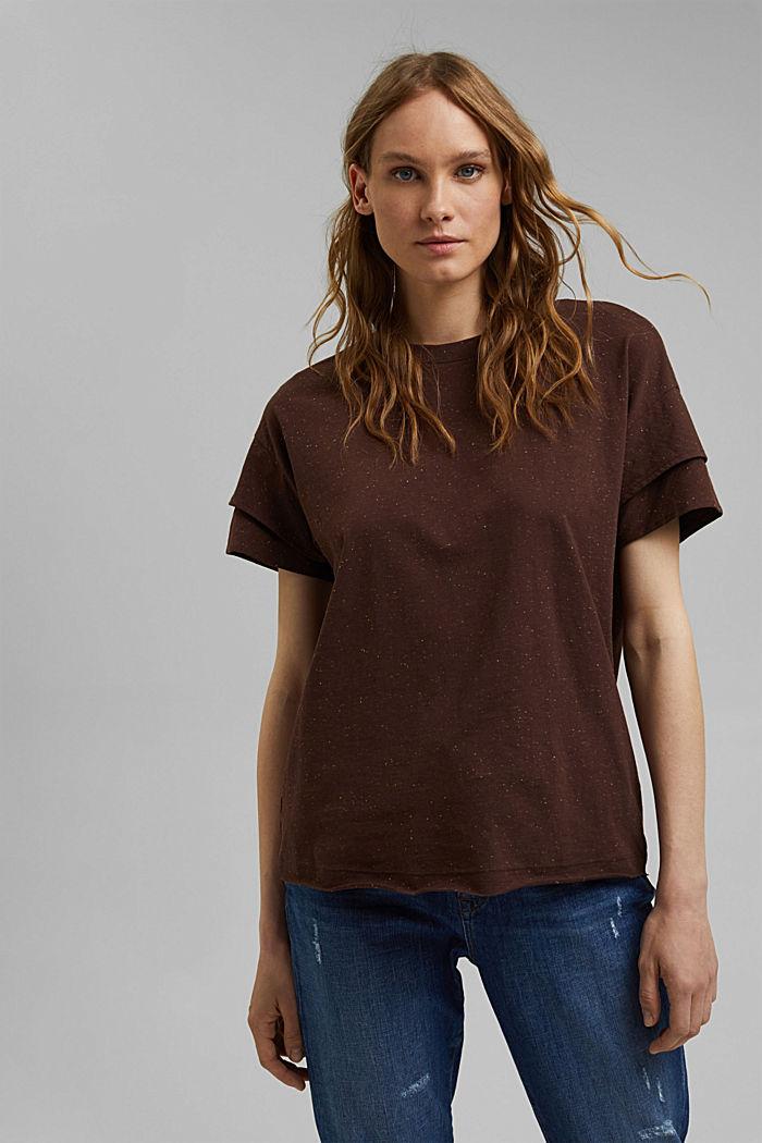 T-Shirt mit doppeltem Ärmel, Organic Cotton, RUST BROWN, detail image number 0