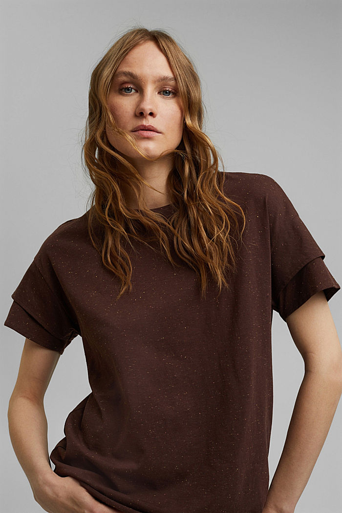 T-Shirt mit doppeltem Ärmel, Organic Cotton, RUST BROWN, detail image number 5