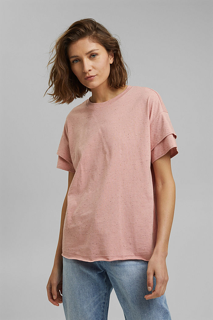 T-shirt à manches à effet superposé en coton biologique, OLD PINK, detail image number 0