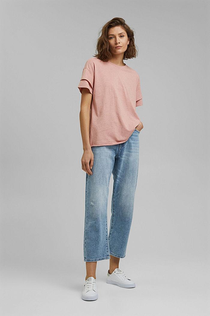 T-shirt à manches à effet superposé en coton biologique, OLD PINK, detail image number 1