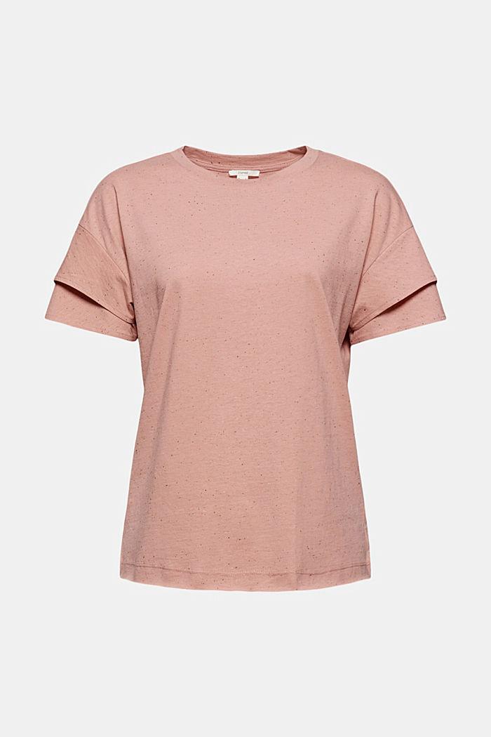 T-shirt à manches à effet superposé en coton biologique, OLD PINK, detail image number 6
