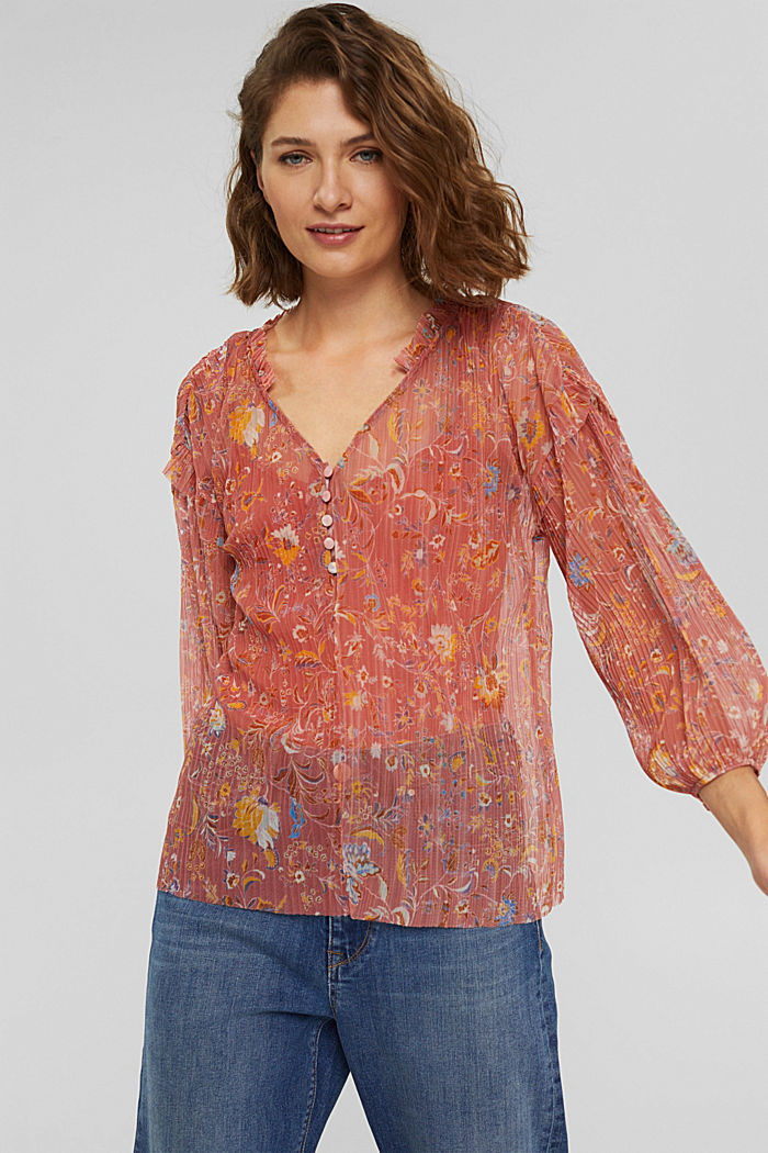 Pleated mesh blouse with top for wearing underneath, BLUSH, detail image number 0