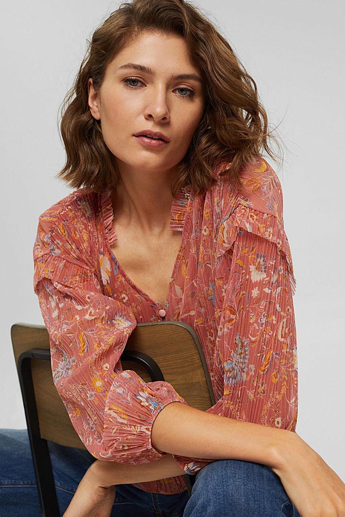 Blusa de malla plisada con top interior