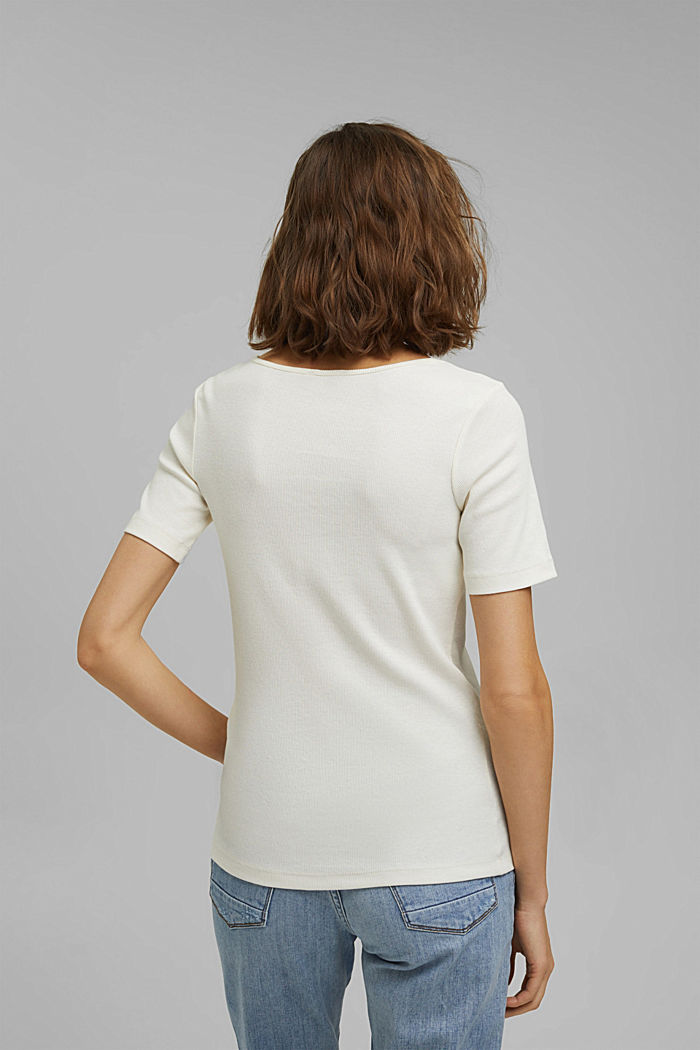 T-Shirt aus Ripp-Jersey mit Organic Cotton, OFF WHITE, detail image number 3