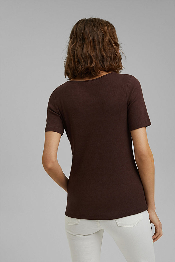 T-shirt made of ribbed jersey containing organic cotton, RUST BROWN, detail image number 3