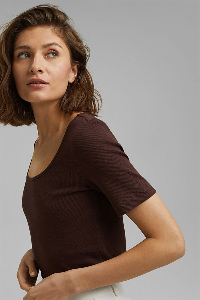 T-shirt made of ribbed jersey containing organic cotton, RUST BROWN, detail image number 5