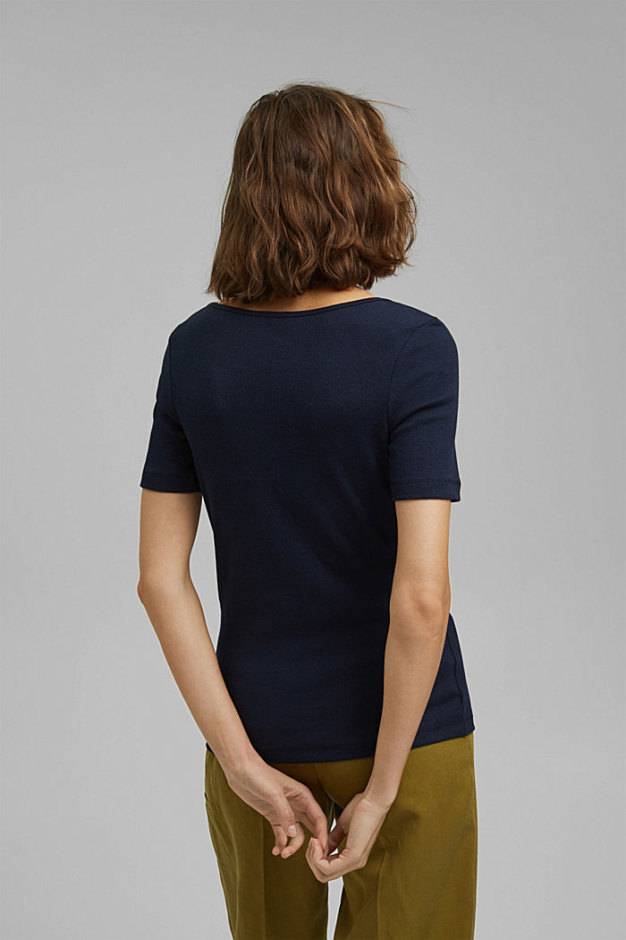 T-shirt made of ribbed jersey containing organic cotton, NAVY, detail image number 3
