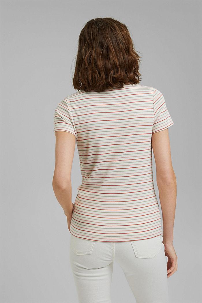 T-shirt van biologisch katoen met strepen, WHITE, detail image number 3