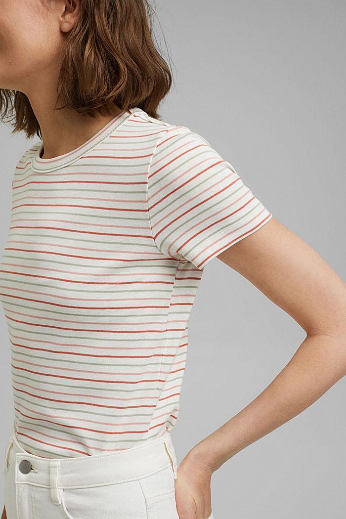 T-shirt van biologisch katoen met strepen, WHITE, detail image number 2