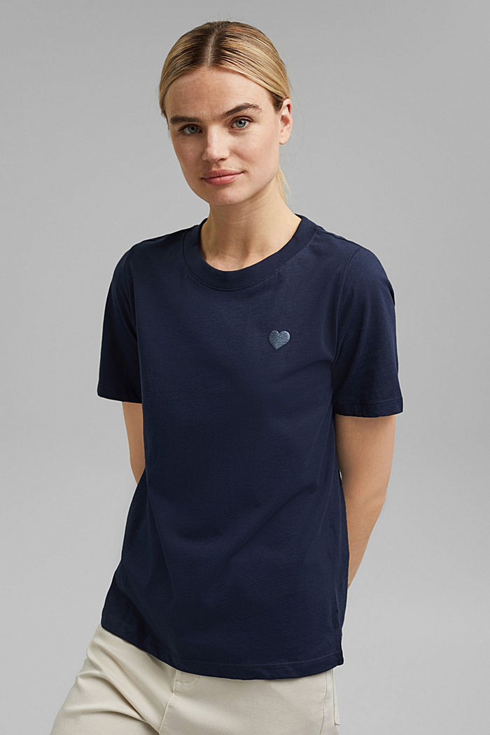 Cotton T-shirt with a glitter print, NAVY, detail image number 0