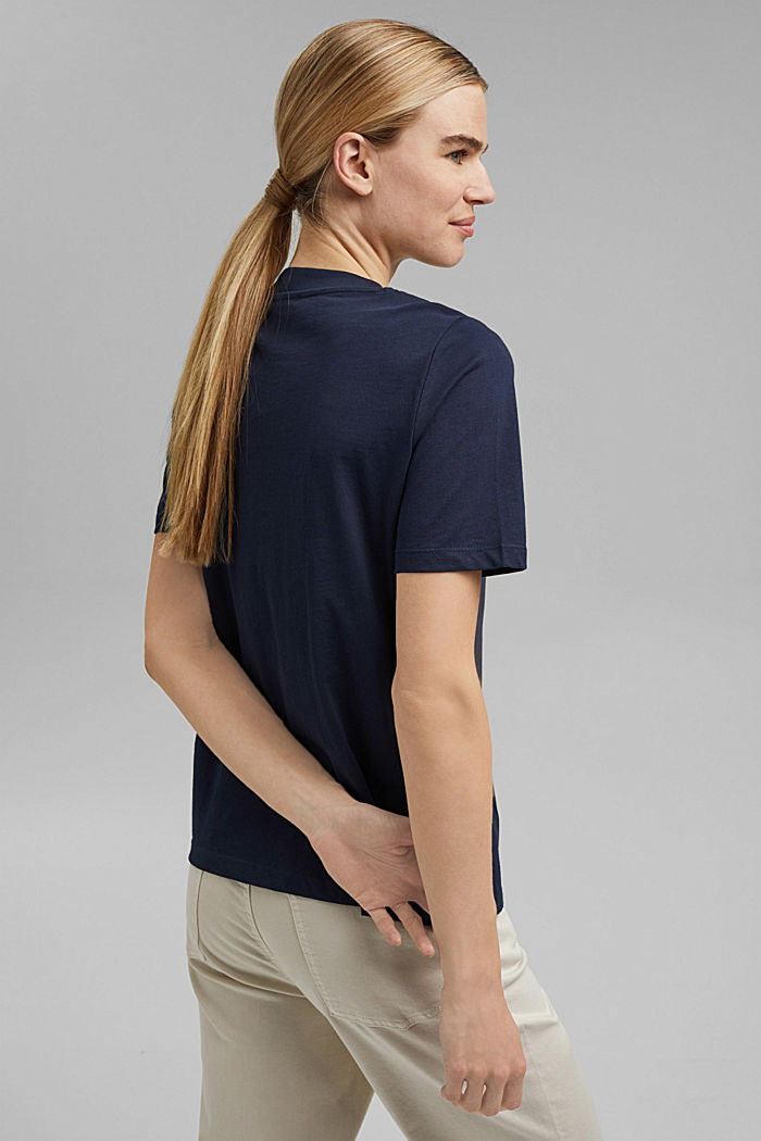 Cotton T-shirt with a glitter print, NAVY, detail image number 3