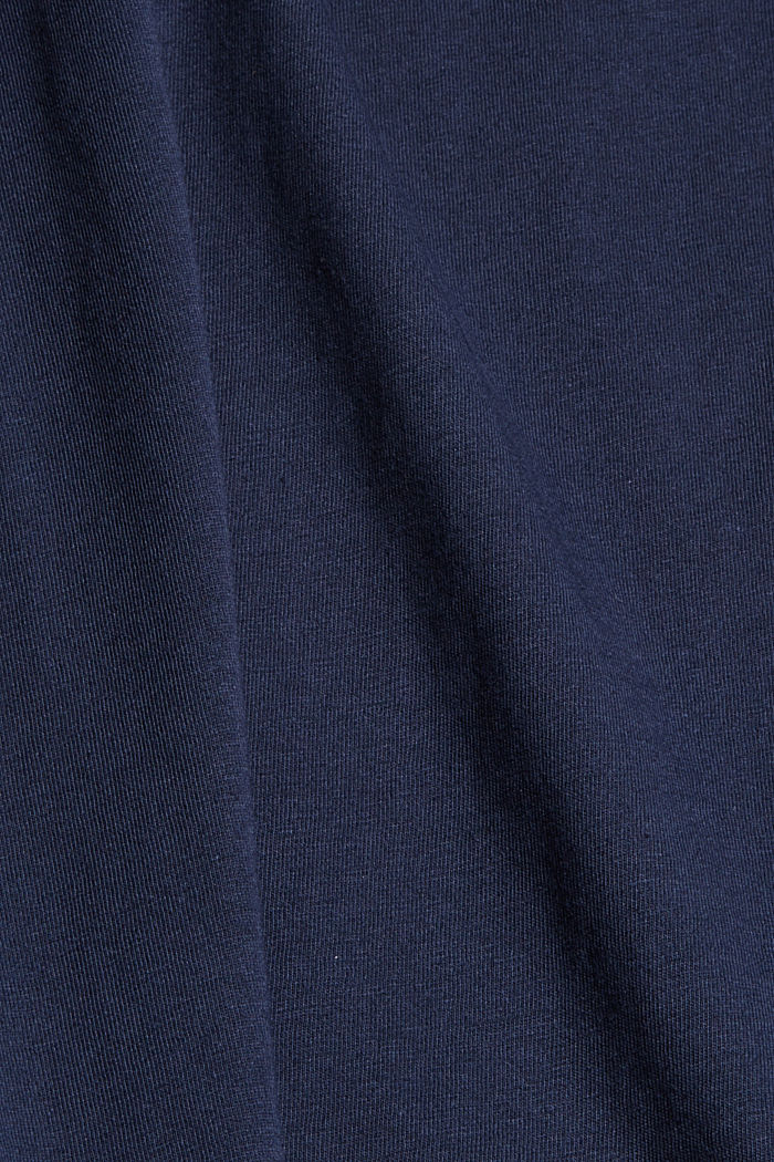 Cotton T-shirt with a glitter print, NAVY, detail image number 4