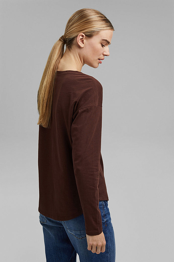 Cotton long sleeve top with a print, RUST BROWN, detail image number 3